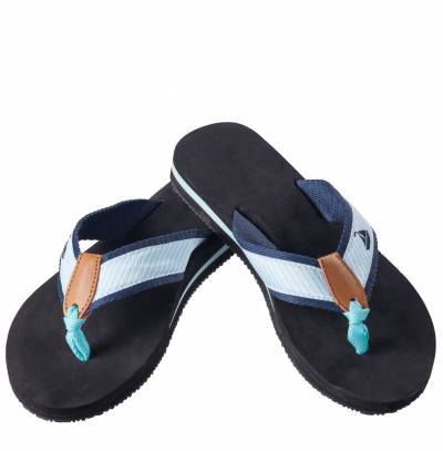 Teal Sailboat Flip Flops
