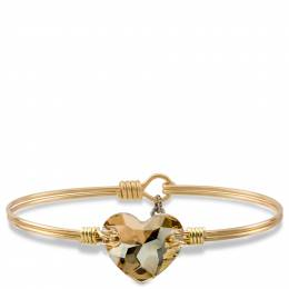 Luca + Danni Champagne Heart on Brass Ox Wire Wrapped Bracelet