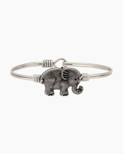 Elephant Bangle in Silver