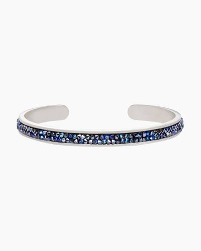Silver Druzy Channel Cuff in Metallic Blue