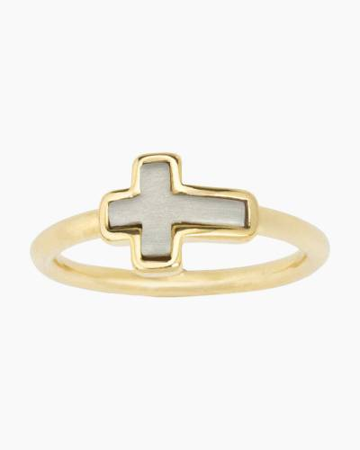 Two-Tone Cross Ring in Gold