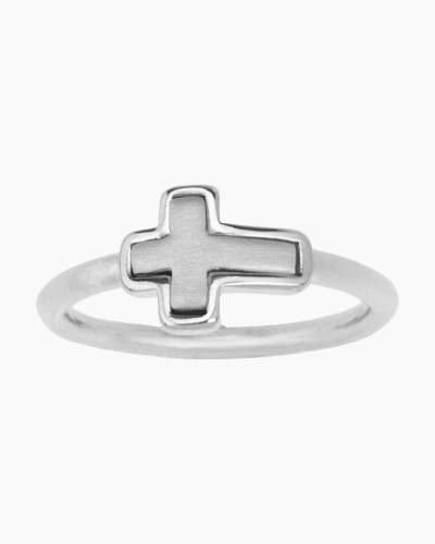 Two-Tone Cross Ring in Silver