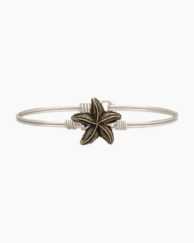 Starfish Charm Bangle Bracelet in Silver