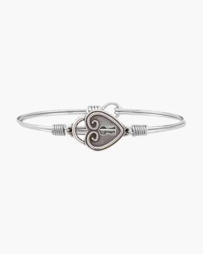 Key to My Heart Bangle Bracelet in Silver