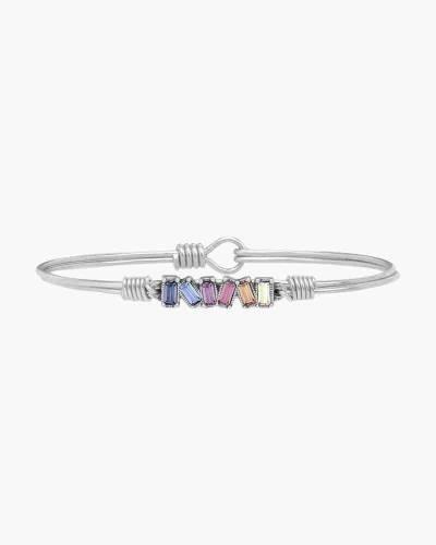 Mini Hudson Regular Silver Bangle Bracelet in Light Ombre