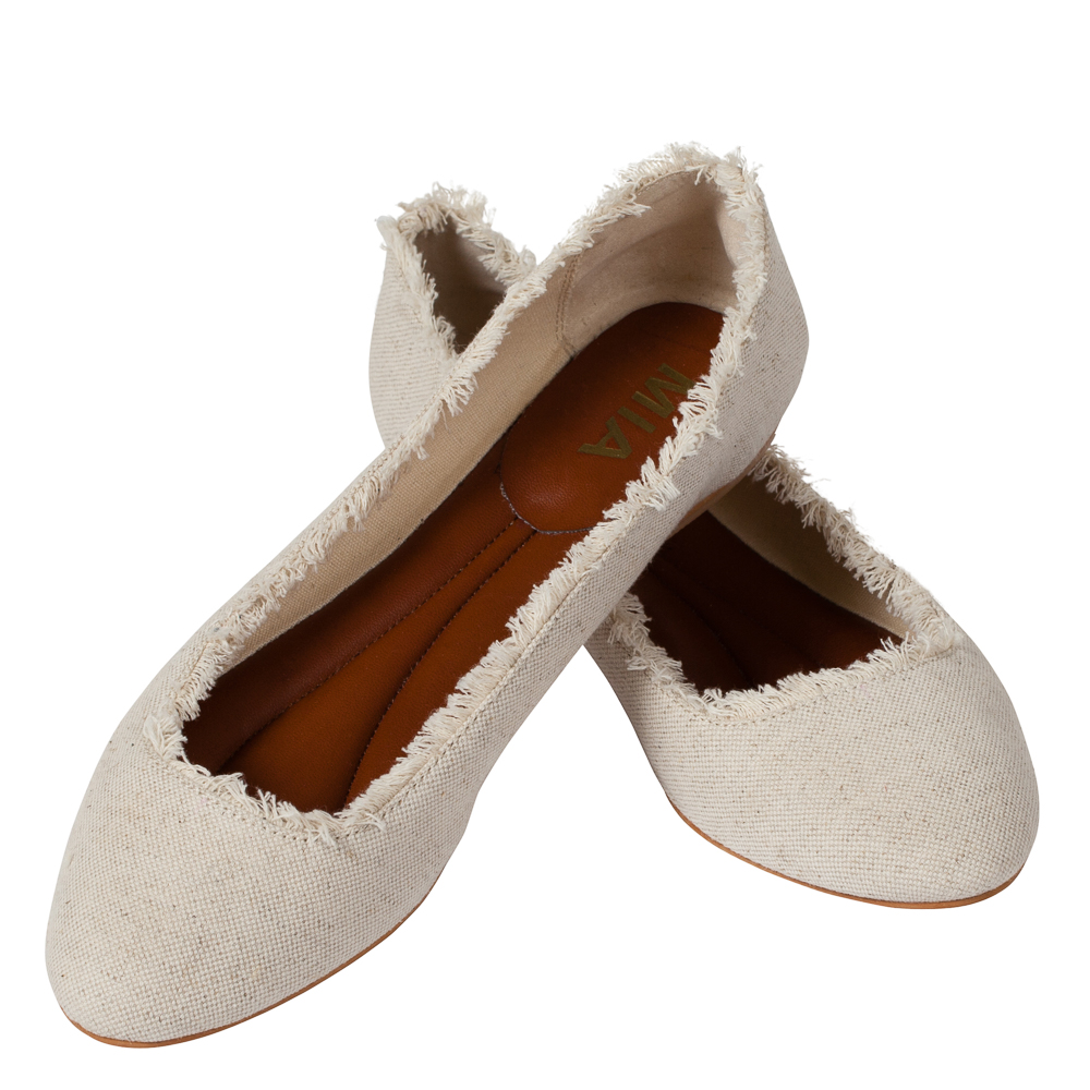 Mia Canvas Ballet Flats in Natural Tone