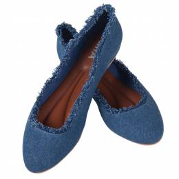 Mia Canvas Ballet Flats in Denim