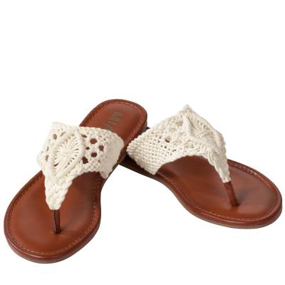 Crochet Thong Sandals in Off White