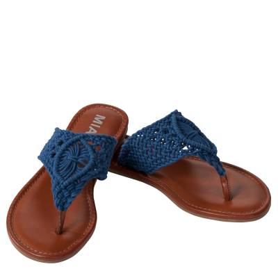Crochet Thong Sandals in Navy