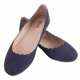 Mia Scalloped Ballet Flats in Navy