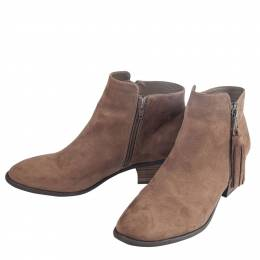 Mia Suede Side-Zip Bootie in Taupe