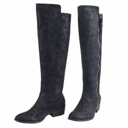 Mia Side-Zip Knee High Boots in Black