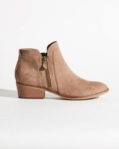 Mia Joslyn Ankle Booties in Taupe