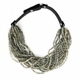 Jamierocks Short Beaded Leather Necklace in Grey