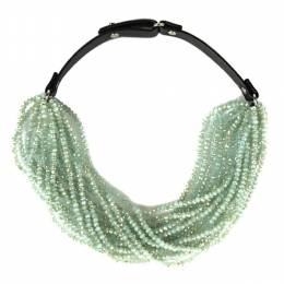 Jamierocks Short Beaded Leather Necklace in Green