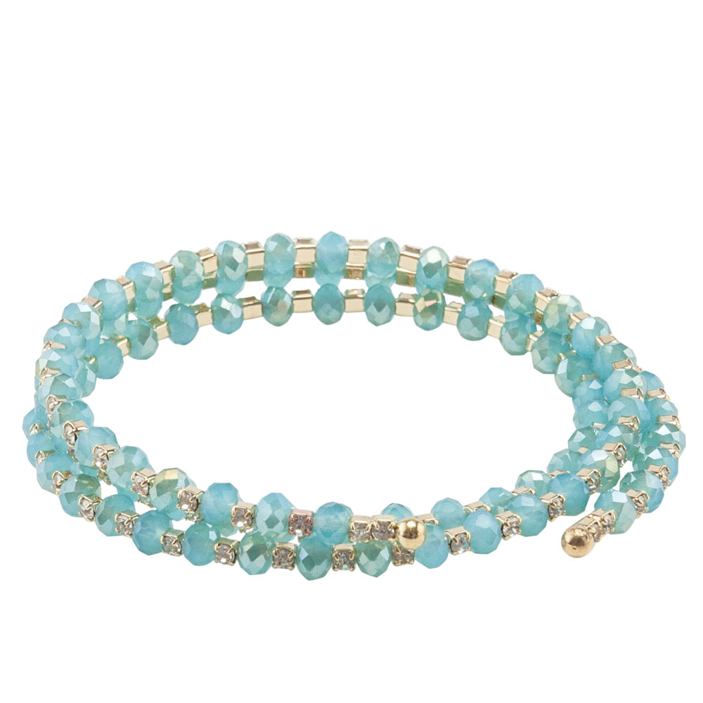 The Paper Store Beaded Coil Bracelet in Aqua