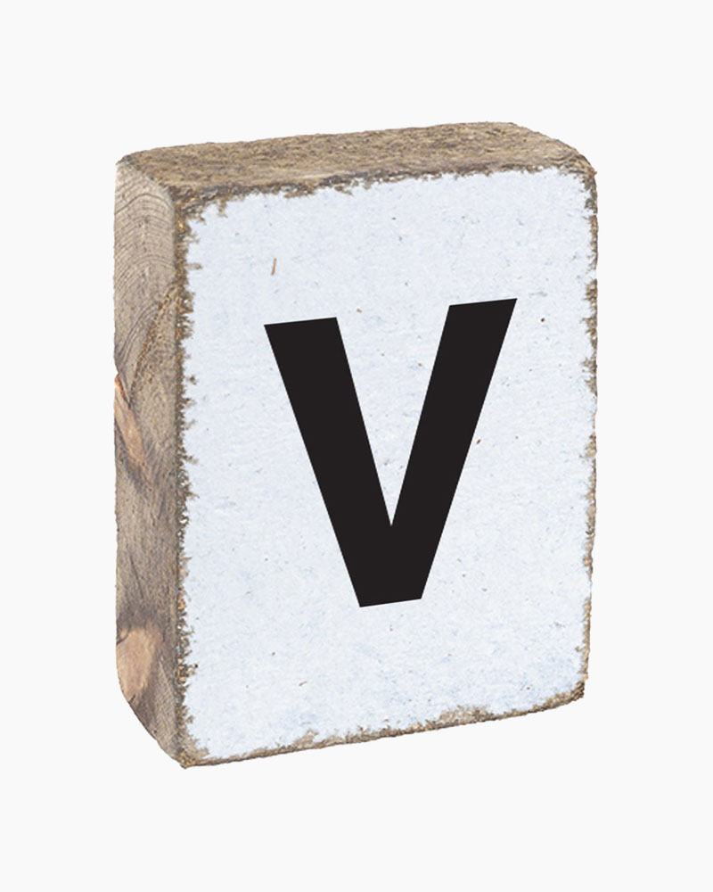 Rustic Marlin Antique White Letter V Block