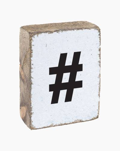 Antique White Hashtag Block