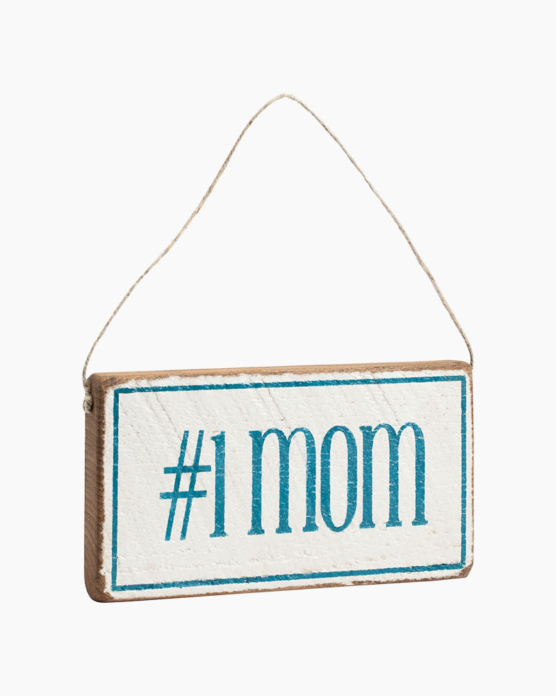 Rustic Marlin Number One Mom Hanging Wood Sign