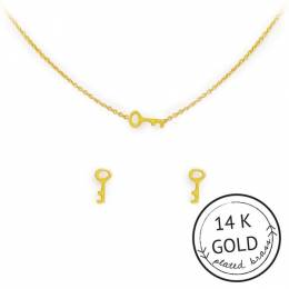 Kitsch Gold Unlock Your Dreams Necklace and Earring Set