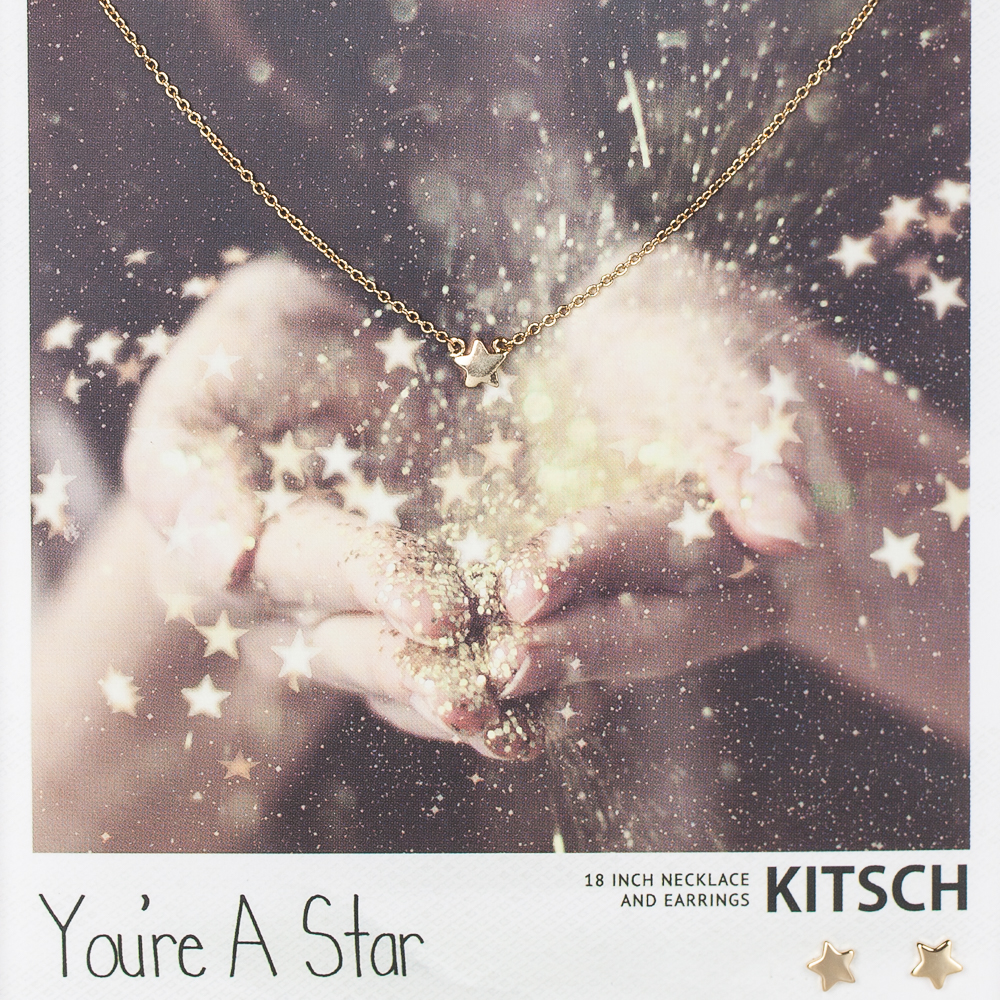 Kitsch You're a Star Necklace and Earrings Set in Gold