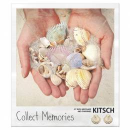 Kitsch Sea Shell Collect Memories Necklace and Earrings Set in Gold