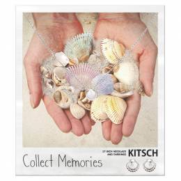 Kitsch Sea Shell Collect Memories Necklace and Earrings Set in Silver