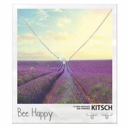 Kitsch Bee Happy Necklace and Earrings Set in Silver