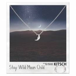 Kitsch Moon Child Necklace and Earrings Set in Silver