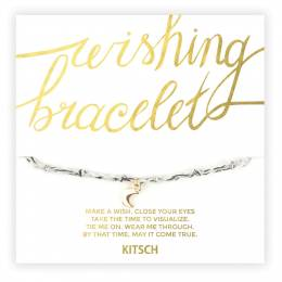 Kitsch You Are Loved Moon Wishing Bracelet in Pastel Grey