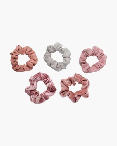 Velvet Scrunchie Set in Blush/Mauve (5-pack)