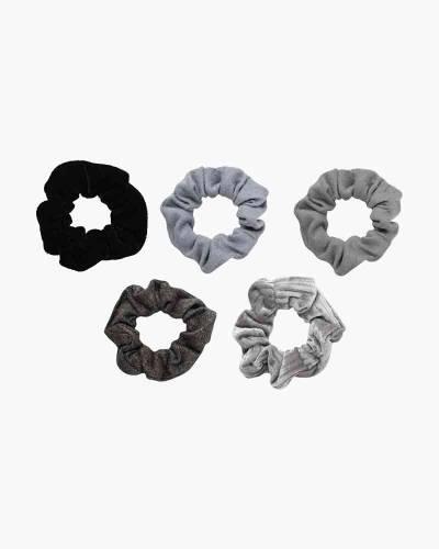 Velvet Scrunchie Set in Black/Gray (5-pack)