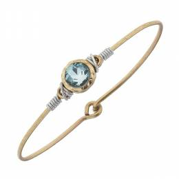 Canvas Aqua Rhinestone Cabochon Worn Gold Bangle