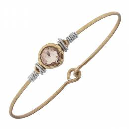 Canvas Rose Rhinestone Cabochon Worn Gold Bangle