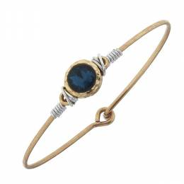 Canvas Teal Rhinestone Cabochon Worn Gold Bangle