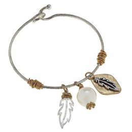 Canvas Two-Tone Feathers Artisan Charm Bangle