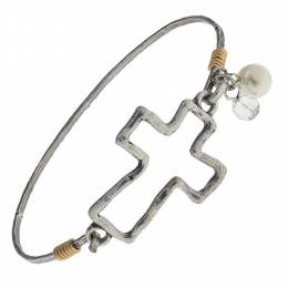 Canvas Worn Silver Cross Artisan Latch Bangle