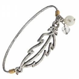 Canvas Worn Silver Feather Artisan Latch Bangle