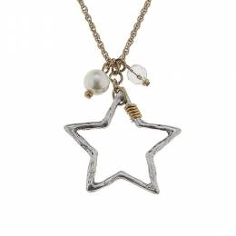 Canvas Worn Silver Star Artisan Charm Necklace