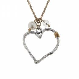 Canvas Worn Silver Heart Artisan Charm Necklace