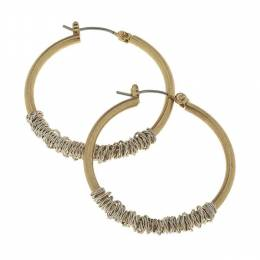 Canvas Worn Gold Wire Wrapped Hoop Earrings