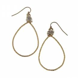 Canvas Worn Gold Hammered Brass Earrings
