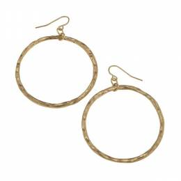 Canvas Worn Gold Hammered Circle Earrings