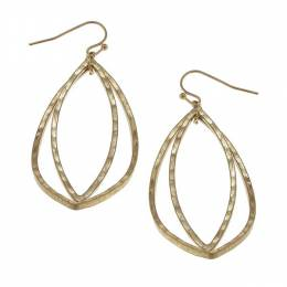 Canvas Worn Gold Hammered Marquis Earrings
