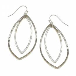 Canvas Worn Silver Hammered Marquis Earrings