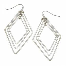 Canvas Worn Silver Hammered Diamond Earrings