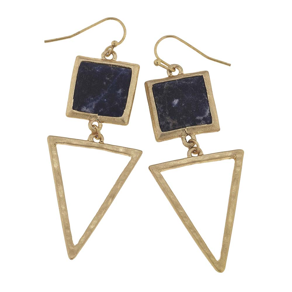 Canvas Sodalite Square Gemstone and Triangle Earrings