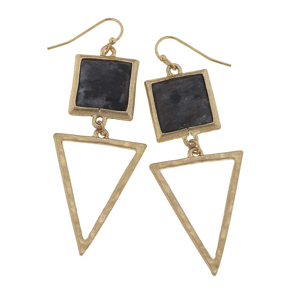 Canvas Granite Square Gemstone and Triangle Earrings