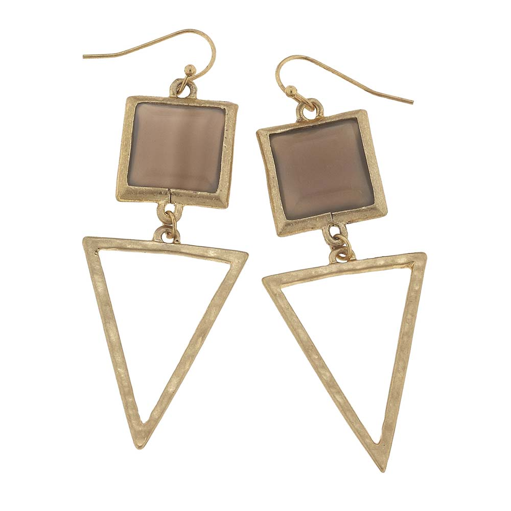 Canvas Grey Agate Square Gemstone and Triangle Earrings