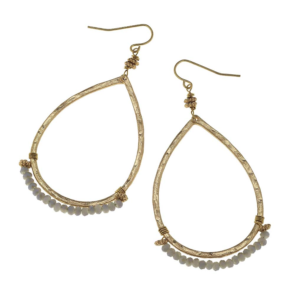 Canvas Platinum Wired Beads Teardrop Earrings